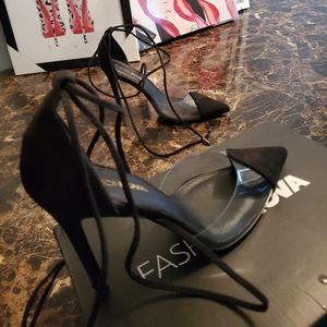 Sexy Clear and Suede Tie Stiletto